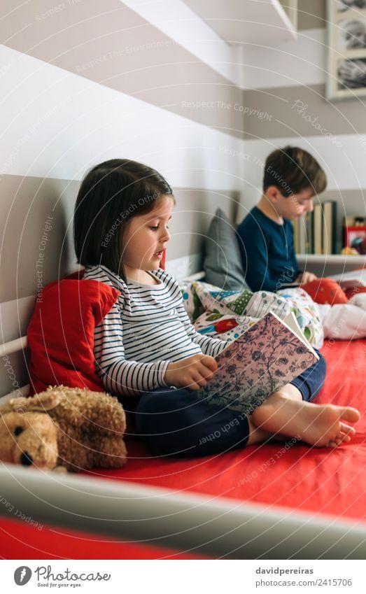 Mädchen und Junge lesen ein Buch auf dem Bett sitzend Lifestyle schön Windstille Schlafzimmer Kind Schule Mensch Frau Erwachsene Mann Schwester