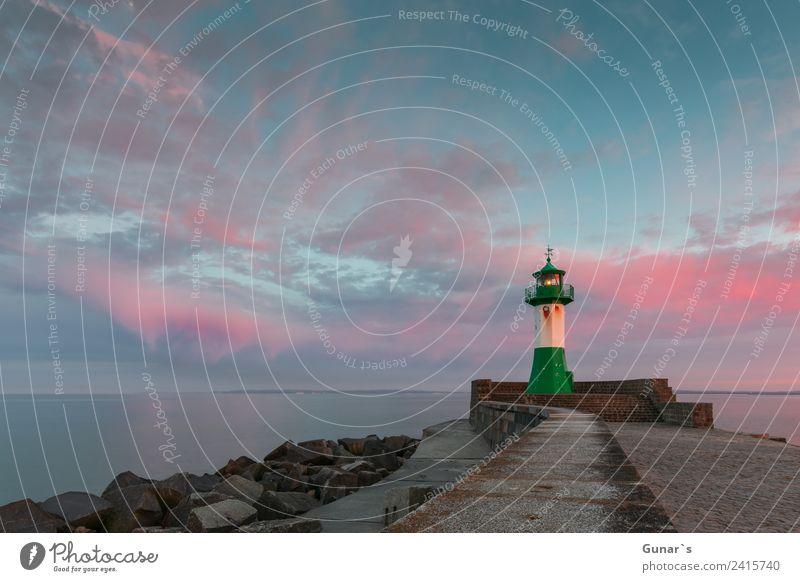 Sonnenuntergang Leuchtturm, Molenfeuer Sassnitz - Ruegen, Ostsee Ferien & Urlaub & Reisen Meer rot Wolken Ferne Tourismus Freiheit Ausflug Horizont Insel