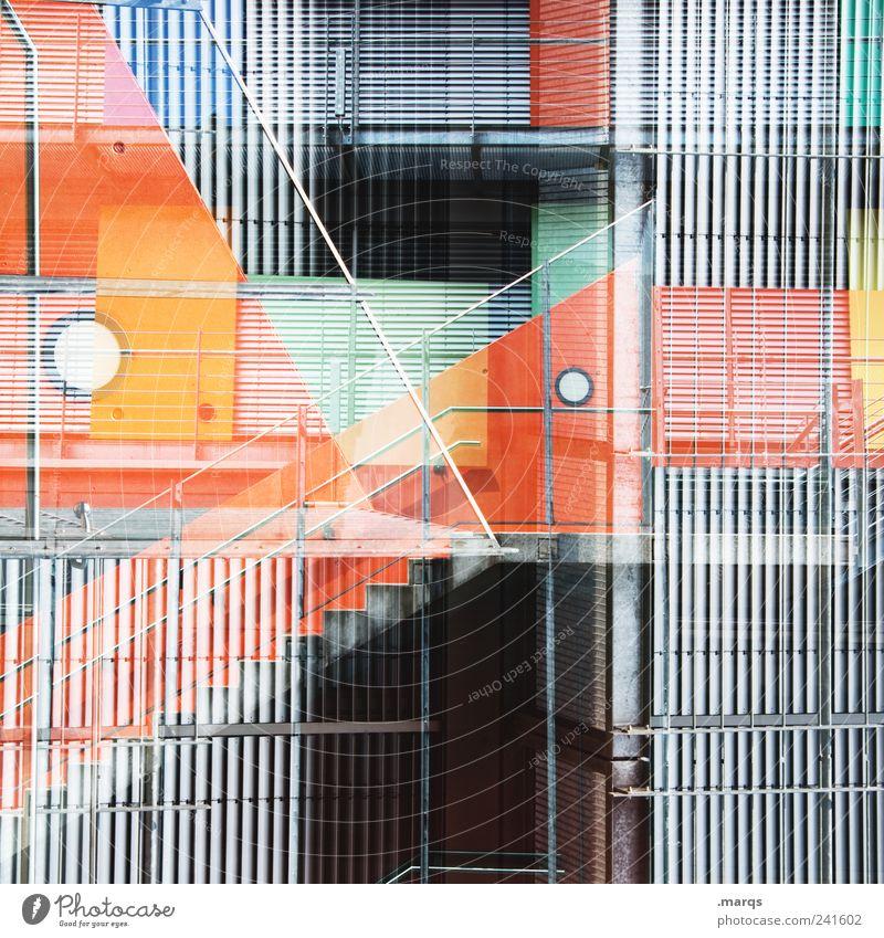 Fassade Stil Treppe Metall Linie Streifen außergewöhnlich eckig trendy einzigartig verrückt grau chaotisch Perspektive skurril orange Treppengeländer Farbfoto