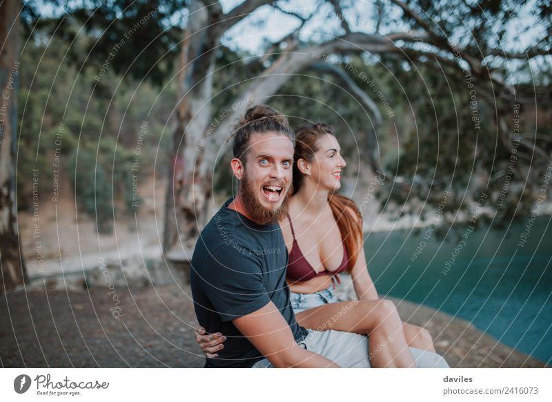 Mensch Natur Jugendliche Junge Frau Wasser Junger Mann Baum Erotik 18-30 Jahre Erwachsene Lifestyle Liebe Gefühle Zusammensein Stimmung Freundschaft
