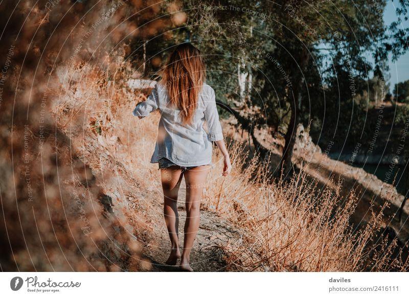Barfuß-Frau, die in der Natur auf einem schmalen Pfad geht. Lifestyle Berge u. Gebirge wandern Mensch Erwachsene 1 18-30 Jahre Jugendliche Landschaft Park Wald