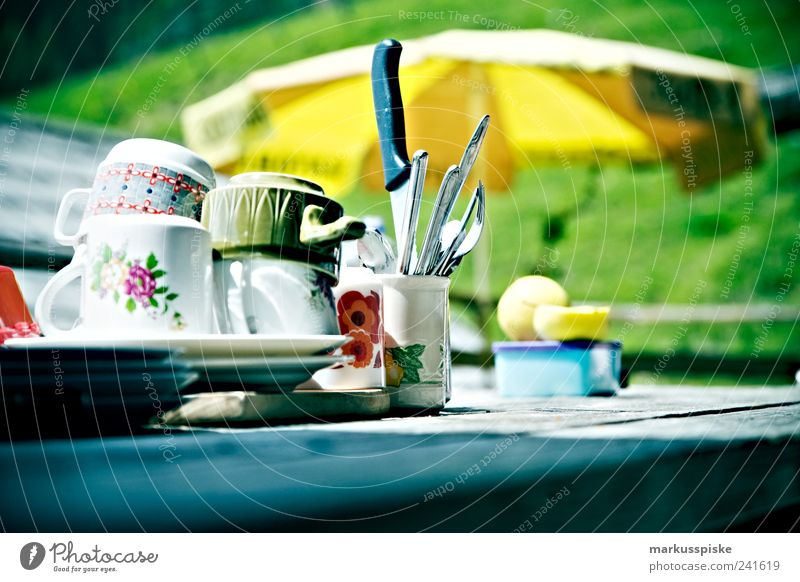 retro trash geschirr Ernährung Frühstück Mittagessen Kaffeetrinken Picknick Geschirr Teller Schalen & Schüsseln Topf Tasse Becher Besteck Messer Gabel Löffel