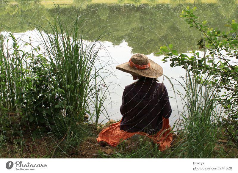 Mädel am See Mensch Jugendliche schön Sommer Wasser Junge Frau Einsamkeit ruhig Glück träumen Idylle sitzen genießen Schönes Wetter Romantik