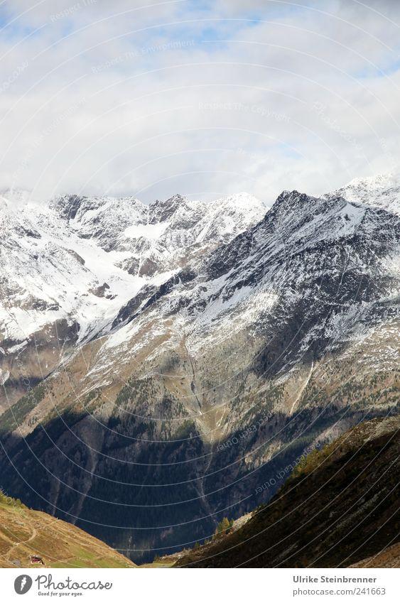 Herbst im Ötziland III Umwelt Natur Landschaft Himmel Wolken Sonnenlicht Eis Frost Schnee Felsen Alpen Berge u. Gebirge Rettenbachferner Ötztal Sölden