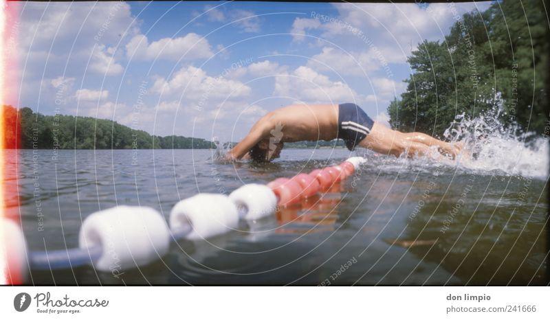 schwupp Mensch Jugendliche Wasser Sommer Erwachsene Bewegung springen See Kraft Freizeit & Hobby Schwimmen & Baden maskulin Beginn frei frisch 18-30 Jahre