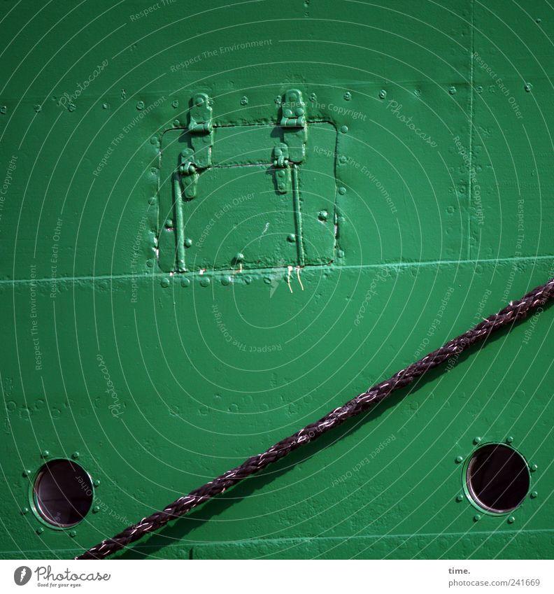 Flickwerk grün Wasserfahrzeug Metall Seil aufwärts Reparatur Naht Niete Schweißnaht Bordwand