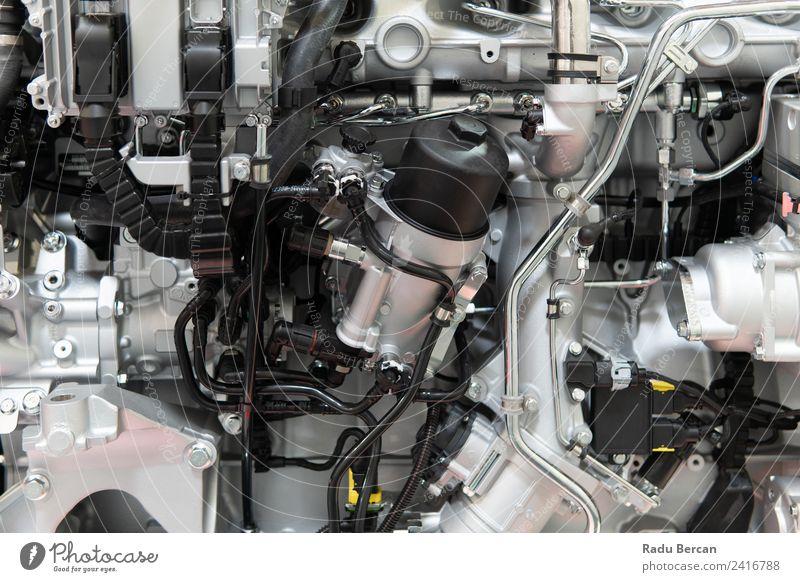 Lkw-Motor Motorkomponenten in der Pkw-Service-Inspektion Design Industrie Maschine Technik & Technologie Verkehr Fahrzeug PKW Lastwagen Metall Stahl silber