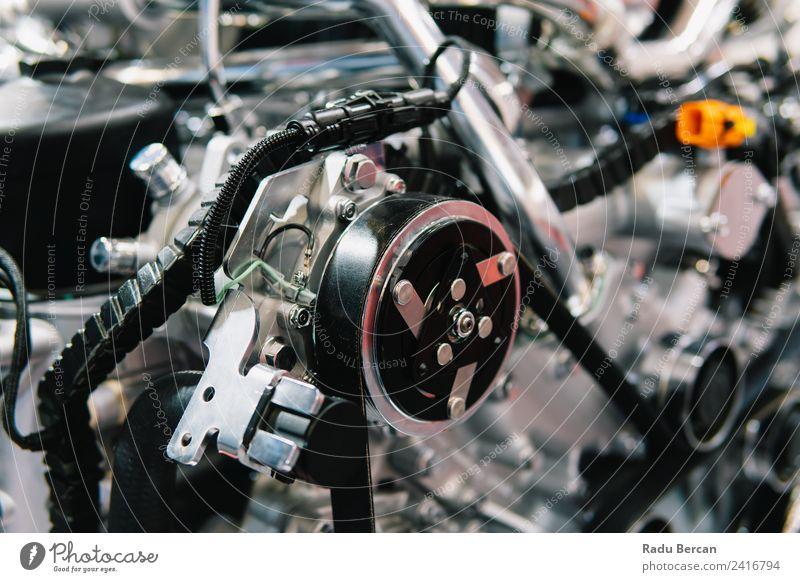 Lkw-Motor Motorkomponenten in der Pkw-Service-Inspektion Design Industrie Maschine Technik & Technologie Fahrzeug PKW Lastwagen Metall Stahl silber Energie