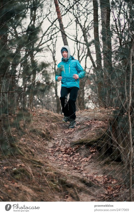 Mensch Natur Jugendliche Mann Junger Mann Baum Erholung Freude Winter Wald Erwachsene Lifestyle Herbst Sport Bewegung Freizeit & Hobby