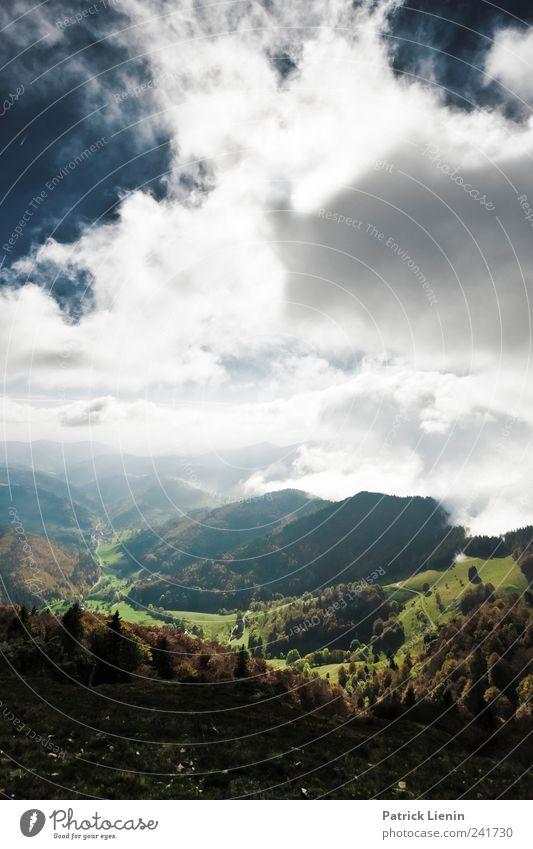 Talblick Himmel Natur Ferien & Urlaub & Reisen Pflanze Sonne Landschaft Wolken Ferne Wald Berge u. Gebirge Umwelt Freiheit Horizont Freizeit & Hobby Tourismus Wetter