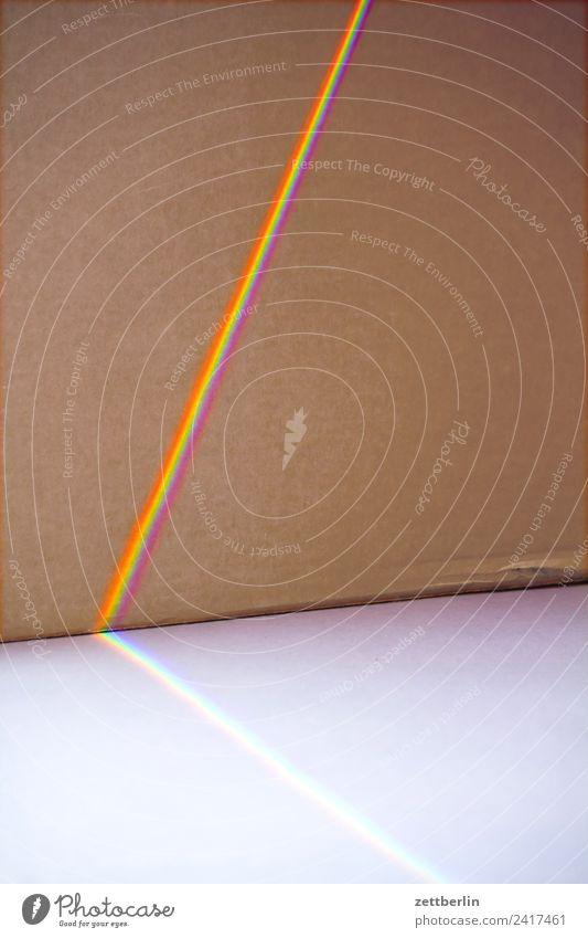 Sichtbares Spektrum Prisma Licht Lichtbrechung Lichtstreifen Lichtstrahl Karton Regenbogen regenbogenfarben Spektralfarbe spektral Farbe mehrfarbig