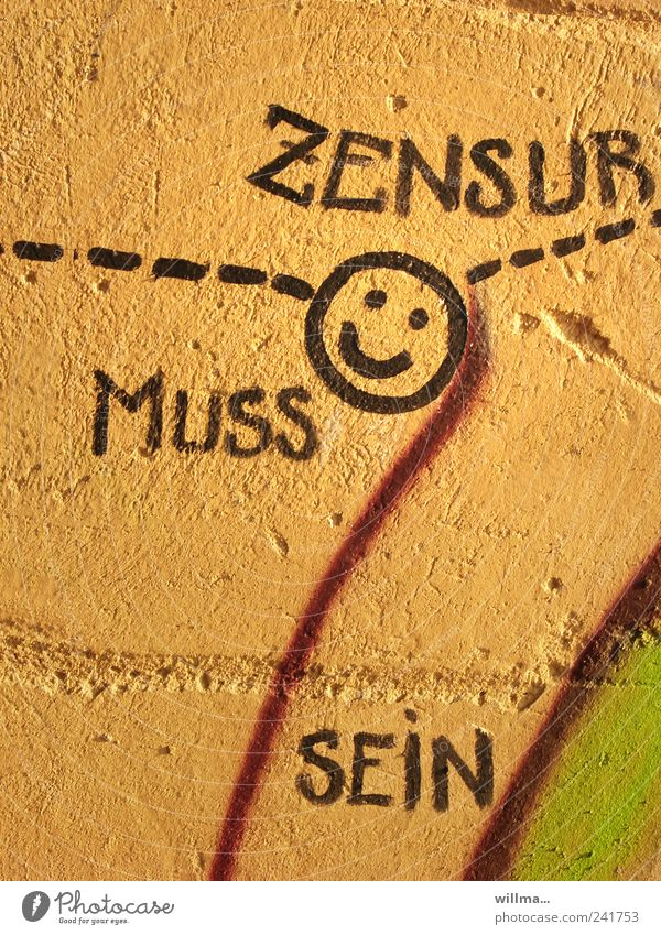 ZENSUR Freiheit Bildung Schule Medienbranche Mauer Wand Zeichen Schriftzeichen Graffiti Linie Macht Schutz Gesellschaft (Soziologie) Kontrolle Ordnung