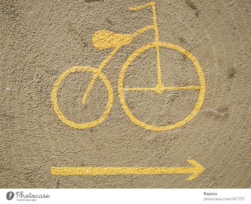the yellow bike Lifestyle Stil Freude Freizeit & Hobby Ausflug Fahrrad Haus Mauer Wand Verkehrsmittel Straße Wege & Pfade Beton Zeichen Schilder & Markierungen