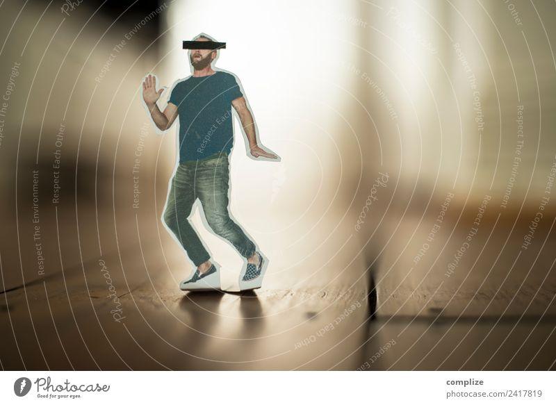 little Runaway Mann schwarz Erwachsene Lifestyle Gesundheit Angst Technik & Technologie Computer Zukunft Zeichen Todesangst Platzangst Internet rennen Figur