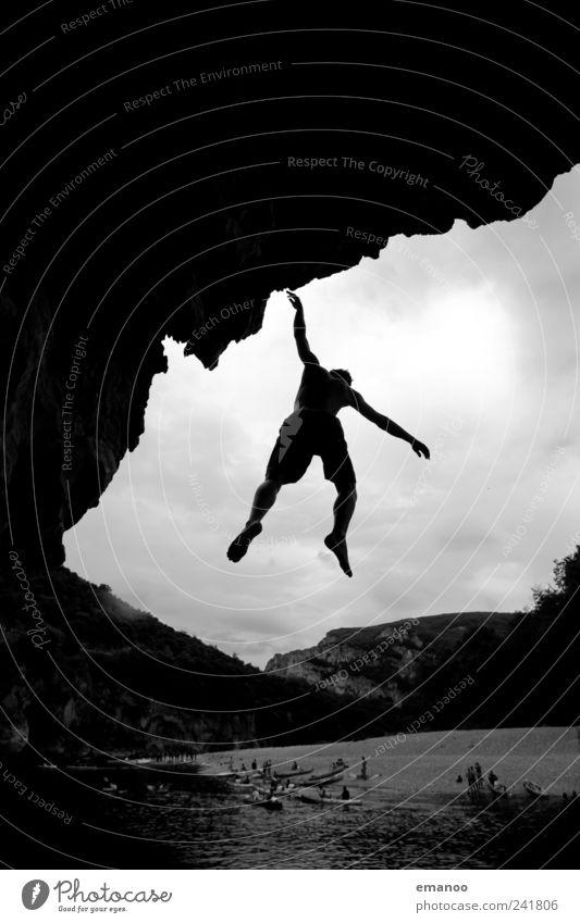 deep water soloing Mensch Mann Natur Wasser Ferien & Urlaub & Reisen Meer Sommer Strand Freude Erwachsene Landschaft Berge u. Gebirge Freiheit springen Stil