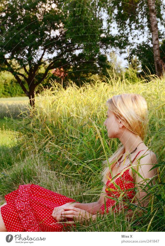 Sommerstimmung Mensch feminin Junge Frau Jugendliche 1 18-30 Jahre Erwachsene Natur Schönes Wetter Gras Feld Kleid blond langhaarig sitzen warten schön rot