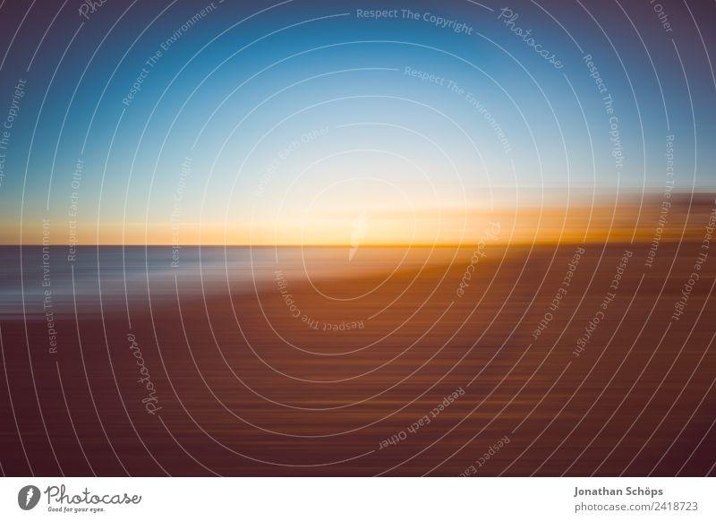 Sonnenuntergang Bewegungsunschärfe am Strand Himmel Himmel (Jenseits) Wasser Landschaft Meer Umwelt Hintergrundbild Kunst Sand Horizont Luft ästhetisch