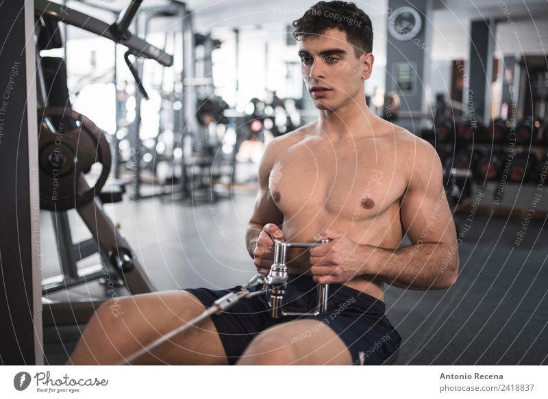 Fitnesstraining Lifestyle Sport Sport-Training Mensch Mann Erwachsene 1 18-30 Jahre Jugendliche Eisenbahn sportlich dünn stark Rudern Rücken dorsal Muskulatur
