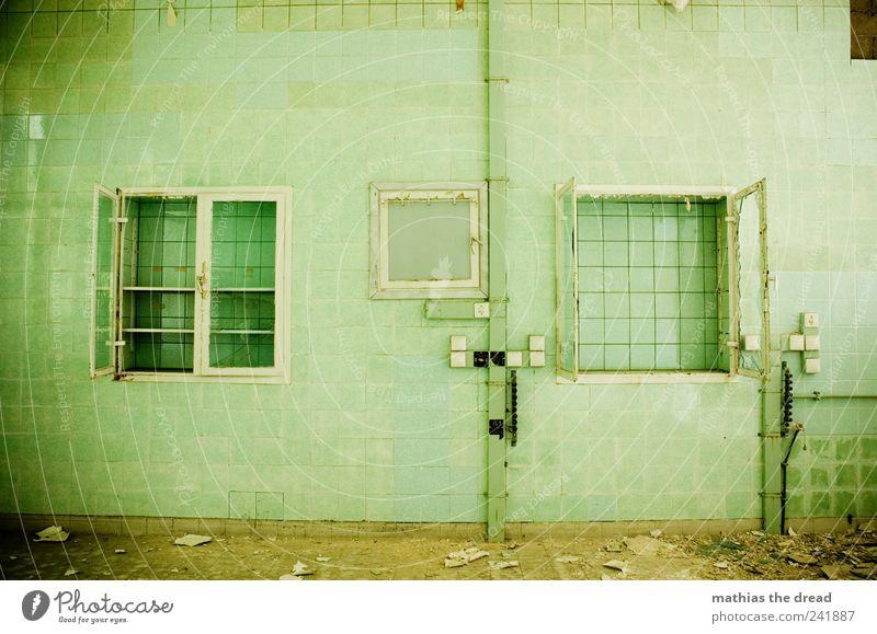 JETZT HABEN SIE IHN TATSÄCHLICH GEHOLT alt grün ruhig Einsamkeit dunkel Wand Fenster Architektur Mauer Gebäude Tür Fassade trist Fabrik Bauwerk