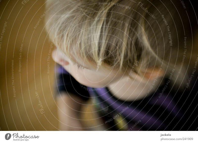 Au Backe maskulin Kind Kopf 1 Mensch 1-3 Jahre Kleinkind blond Wachstum mehrfarbig Vorfreude Vertrauen Reinheit Farbfoto Innenaufnahme Unschärfe