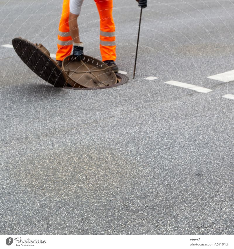 Underground Mensch Hand Straße Arbeit & Erwerbstätigkeit Stein Wege & Pfade Beine orange Beton Energie Beginn Verkehr Güterverkehr & Logistik Baustelle