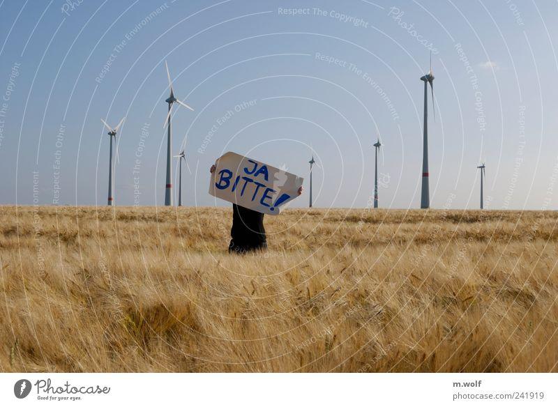 Nein Danke ? Mensch Natur Sommer Umwelt Landschaft Feld Energiewirtschaft Klima Energie frei Wandel & Veränderung Zeichen Wut Windkraftanlage Reichtum Mut