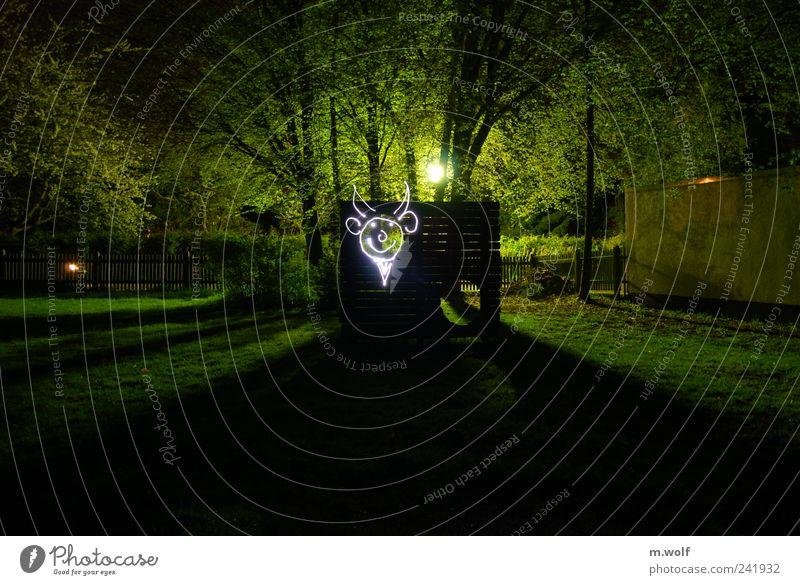 Torwandschießen Baum grün Spielen Graffiti Kunst Rasen Ast Dorf Kreativität Gesichtsausdruck Surrealismus Straßenbeleuchtung Horn Spielplatz Teufel Taschenlampe