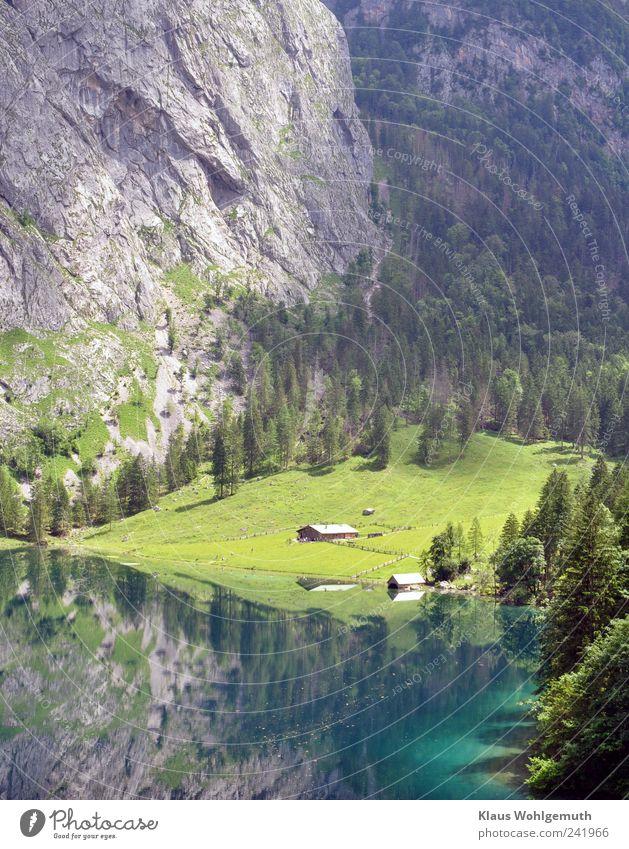 Abgeschieden Wasser grün blau Sommer Strand Ferien & Urlaub & Reisen Ferne Wald Gras Berge u. Gebirge grau See Wellen wandern Felsen Tourismus