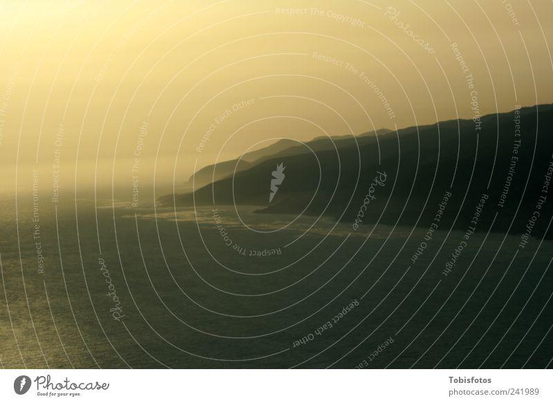 California Sunset Himmel Wasser Meer ruhig gelb Erholung Herbst Landschaft Küste Luft braun Wellen Horizont Nebel Tourismus USA