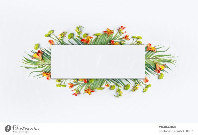 Rahmen mit tropischen Palmblättern und Blumen Stil Design Ferien & Urlaub & Reisen Sommer Natur Pflanze Blatt Blüte Fahne trendy Hintergrundbild Hipster