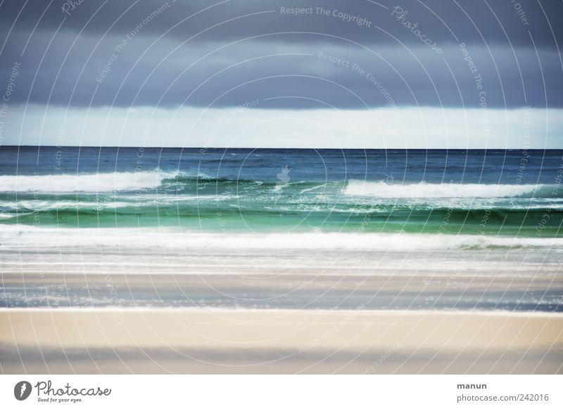 Strand und Meer Natur Wasser schön Himmel blau Ferien & Urlaub & Reisen Wolken Sand Landschaft Küste Wellen Horizont authentisch Urelemente