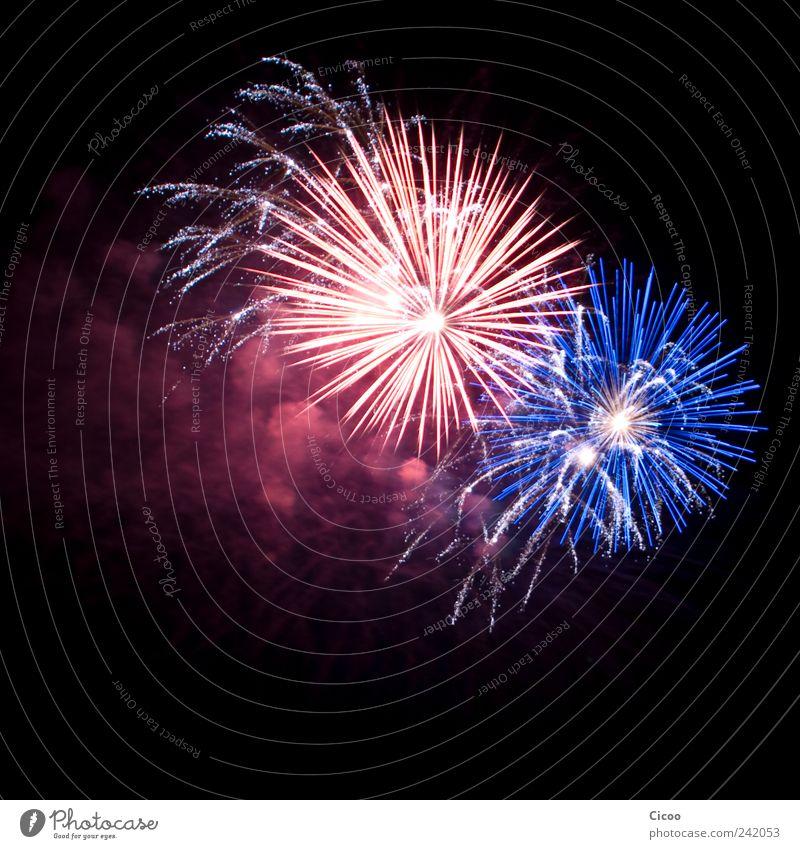 'cause baby you're a firework... Veranstaltung Show Feuerwerk Luft Himmel Nachthimmel beobachten glänzend leuchten Ferne heiß hell schön blau rot schwarz