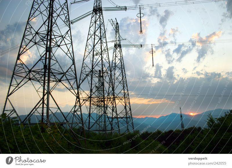 Abend Energiewirtschaft Umwelt Natur Landschaft Pflanze Himmel Wolken Nachthimmel Horizont Sonnenaufgang Sonnenuntergang Sommer Klima Schönes Wetter Wald
