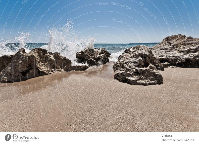 Splash IV Natur Sand Wasser Wassertropfen Sommer Wellen Küste Strand Erholung Felsen Stein Wasserfontäne Portugal Algarve Ferien & Urlaub & Reisen