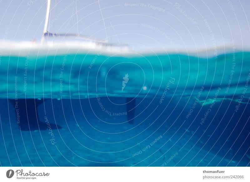 Grenzschicht - Borderline Wasser blau weiß Sommer Ferien & Urlaub & Reisen Meer Freiheit Luft Wellen Freizeit & Hobby Schwimmen & Baden Unterwasseraufnahme Kunststoff tauchen Bucht Segeln