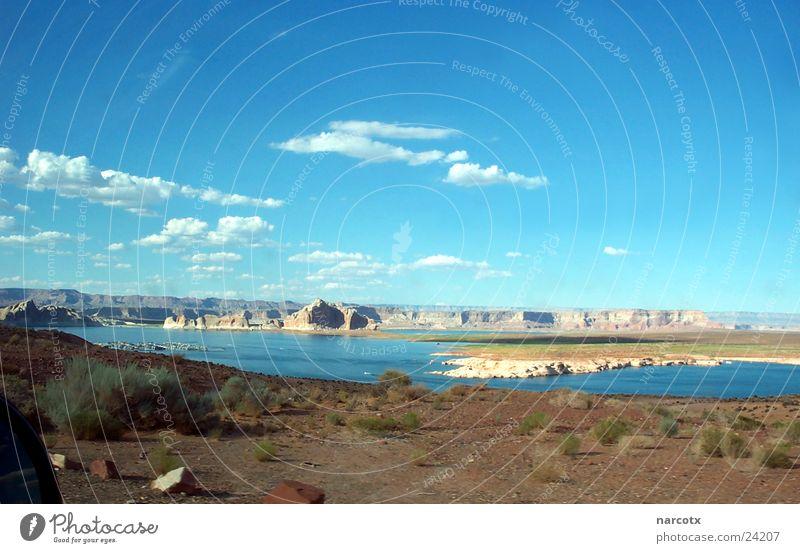 see [2] Meer flach nass feucht Stausee Amerika Südwest Page Wasser Süßwasser Stein Staumauer USA