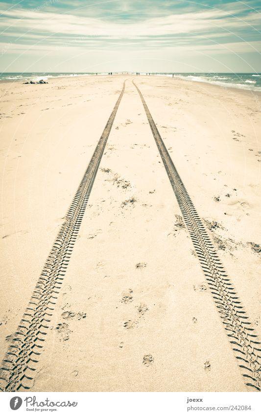Bis ans Ende Wasser Himmel Meer blau Sommer Strand Ferien & Urlaub & Reisen Wolken Ferne Freiheit Sand braun Küste Wellen Umwelt Ausflug