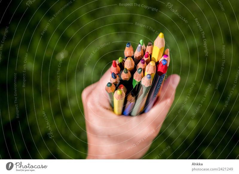 Vielfalt, Hand mit Buntstiften vor grünem Hintergrund Farbe Kunst Schule Kreativität Erfolg lernen Studium planen festhalten Erwachsenenbildung Bildung