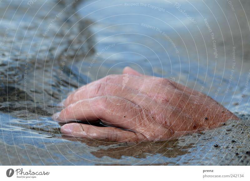 hand Mensch blau Wasser Hand Sommer Strand Erwachsene grau Sand See braun Finger gruselig Seeufer 45-60 Jahre Sommerurlaub