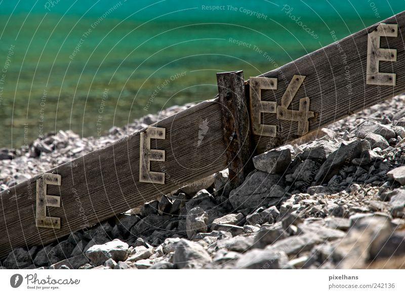 Messlatte zu hoch gesetzt? Natur Wasser alt weiß grün Sommer Berge u. Gebirge Holz grau Stein See braun Metall Wellen dreckig wandern