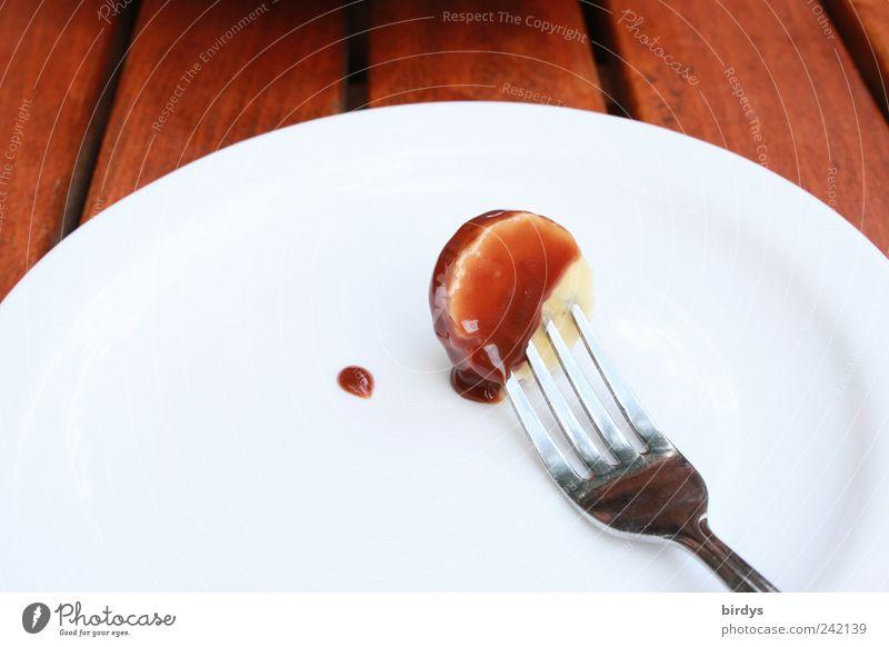 Schoko - Banane weiß braun glänzend süß einfach Foodfotografie genießen Sauberkeit Tropfen lecker Teller Schokolade Gabel Feinschmecker aufgespiesst