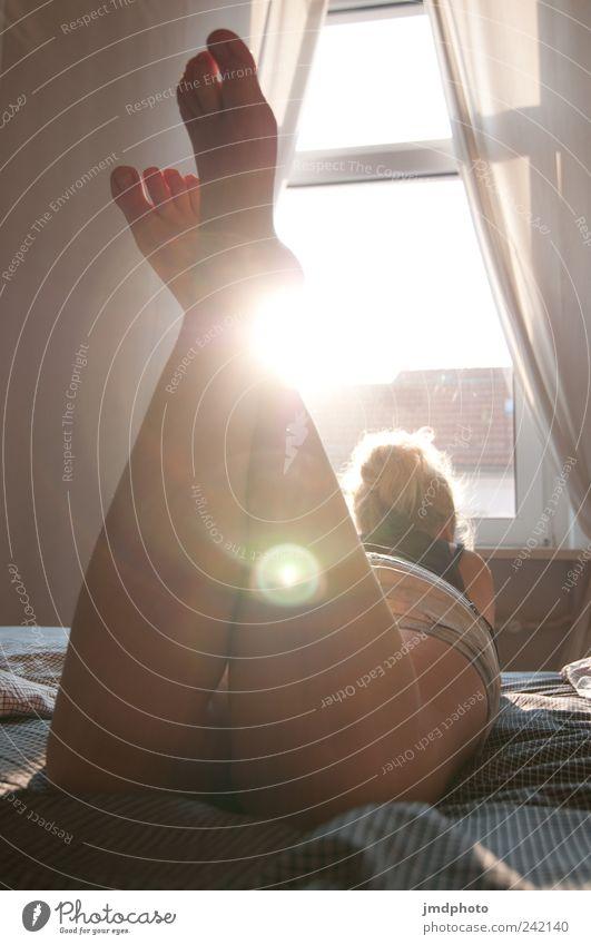Sommermädchen Mensch Jugendliche schön Erholung feminin Fenster Stil Glück Erwachsene träumen Beine Fuß Wohnung liegen Pause