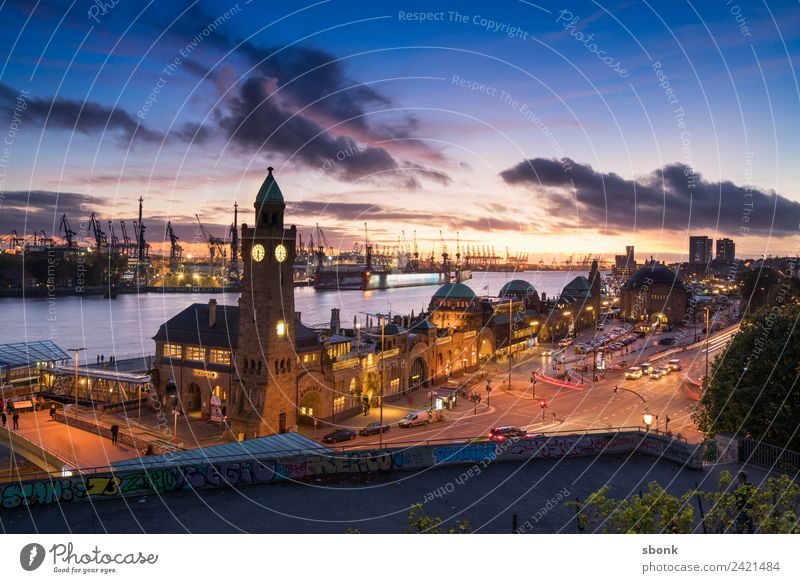 Hansestadt Abendpanorama Hamburg Skyline Ferien & Urlaub & Reisen Deutschland Großstadt harbour Elbe german cityscape Dämmerung Nacht Sonnenaufgang