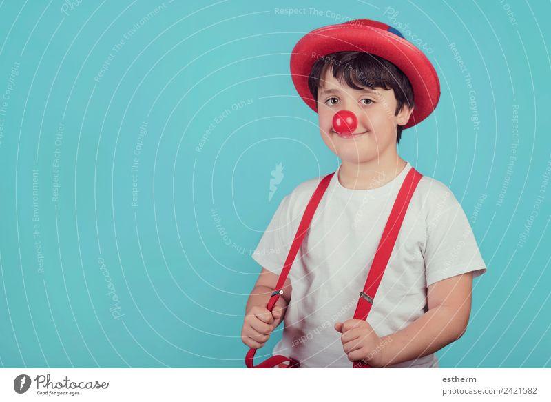 lustiges Kind mit Clownsnase Lifestyle Freude Entertainment Party Veranstaltung Feste & Feiern Karneval Jahrmarkt Geburtstag Mensch maskulin Kleinkind Junge