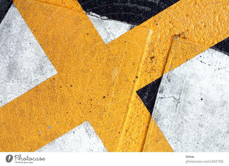 Straßenkreuzer Warnhinweis Hinweis gelb weiß Kreuz Schilder & Markierungen Verkehr Asphalt Farbe Strukturen & Formen Zweck Funktion Vorsätze