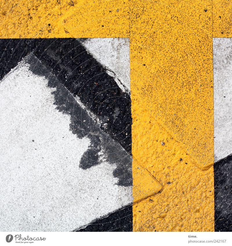 T-Träger weiß gelb Straße Farbe Schilder & Markierungen Verkehr Asphalt Kreuz Warnhinweis Zweck Hinweis Funktion
