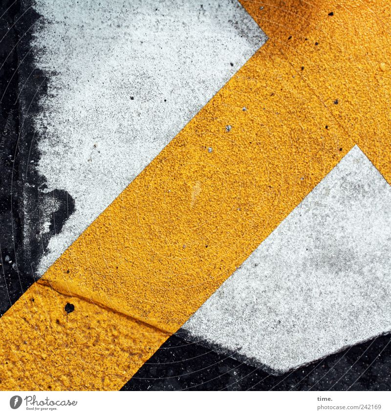 Richtung weiß gelb Straße Schilder & Markierungen Asphalt Pfeil Richtung Grafik u. Illustration diagonal Warnhinweis Hinweis