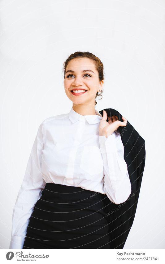 Lächelnde selbstbewusste Geschäftsfrau elegant Stil schön Büro Business Karriere Erfolg Junge Frau Jugendliche 1 Mensch 18-30 Jahre Erwachsene Hemd blond Locken