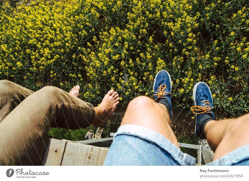 beine auf hochsitz mit raps Mensch Natur Ferien & Urlaub & Reisen Jugendliche Sommer Landschaft Erholung ruhig 18-30 Jahre Erwachsene Lifestyle Leben Beine
