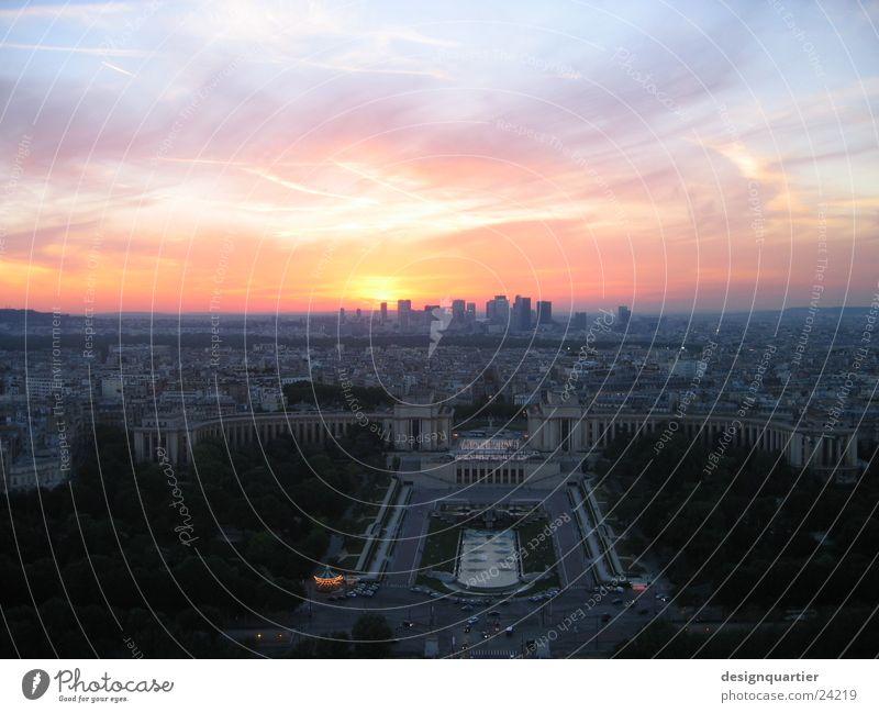 Sonnenuntergang in Paris vom Eifelturm Himmel Europa Aussicht Turm Frankreich Reaktionen u. Effekte Färbung Tour d'Eiffel